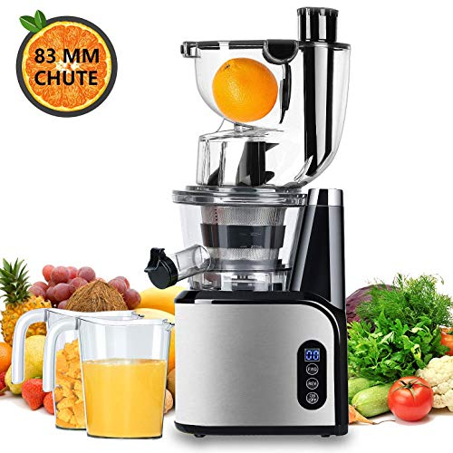 Aobosi Slow Masticating Juicer 83mm(3.15inch) Wide Chute Juice Extractor Cold Press Juicer Machine with Quiet Motor/Reverse Function/Juice Jug and Clean Brush for High Nutrient Fruit & Vegetable Juice (Best Small Juicer Machine)