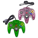 Pomilan 2 Packs Classic Retro Wired Controllers For N64 (Clear Green and Clear purple)