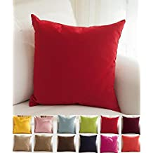 """TangDepot Decorative Handmade Solid 100% High Quality Cotton Canvas Throw Pillow Covers /Pillow Shams - (16""""x16"""", Red)"""