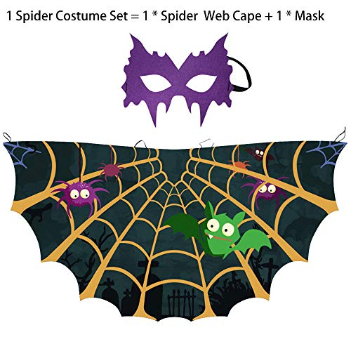 Toddler Kids Spider Costume for Boys Girls, Fancy Web Cape and Mask for Superhero Party Cosplay Accessories (Purple) ()