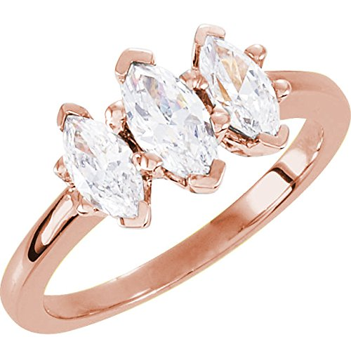 2 Carat 14K Rose Gold Marquise Cut 3 Three Stone Diamond Engagement Ring (H-I Color SI2-I1 Clarity)