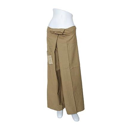 Khaki Yoga Massage Wrap Trousers Fisherman Pants Unique for Women & Men, Northern Thai Style