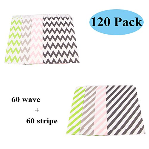 Swity Home 120 Pcs Wave Stripe Paper Bags For Party Wedding Birthday Decor, Cookie, Candy Storage, Birthday Party Favors, Snacks, Decoration, Pink, Green, Grey, Black, Set of 120