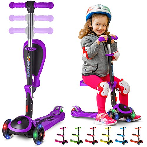 SKIDEE Kick Scooters for Kids 2-12 Years Old - Foldable Scooter with Removable Seat, 3 LED Light Wheels, Back Wheel Brake, Wide Standing Board, and Adjustable Height - 110 Lbs Capacity - Y200