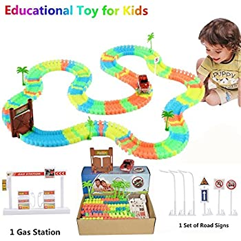 this item race car track glow in the dark track with light up led car toy for kids 3 year old train track playset