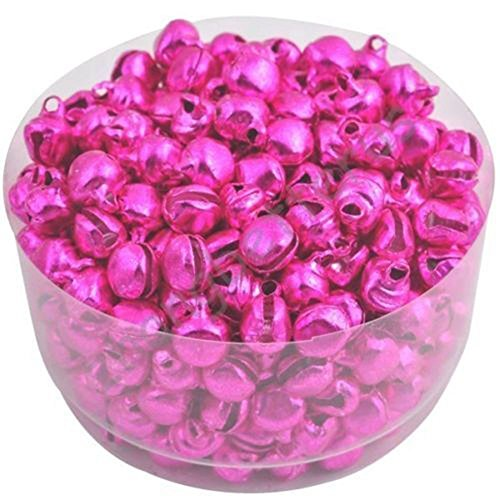 WSERE 200 Pieces Metal Mini Jingle Bells DIY Crafts Arts 6MM Small Tinkle Bell, Cheerful Sound and Bright Color(Rose Red)