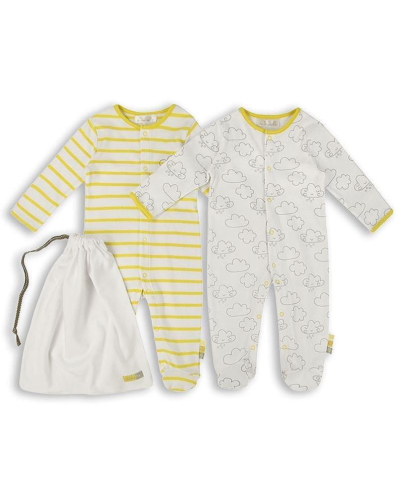 The Essential One Unisex Baby Schlafanzuge/Schlafanzug/Einteiler/langarmeliger Body/Strampler (2-er Pack mit Beutel) - ESS157