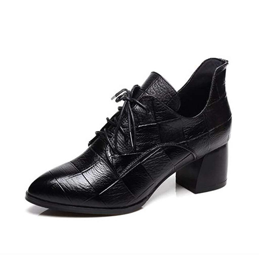 FAFZ Scarpe da Donna Autunno Scarpe col Tacco Medio Scarpe col Tacco Spessa comode Scarpe da Donna di Grandi DimensioniA