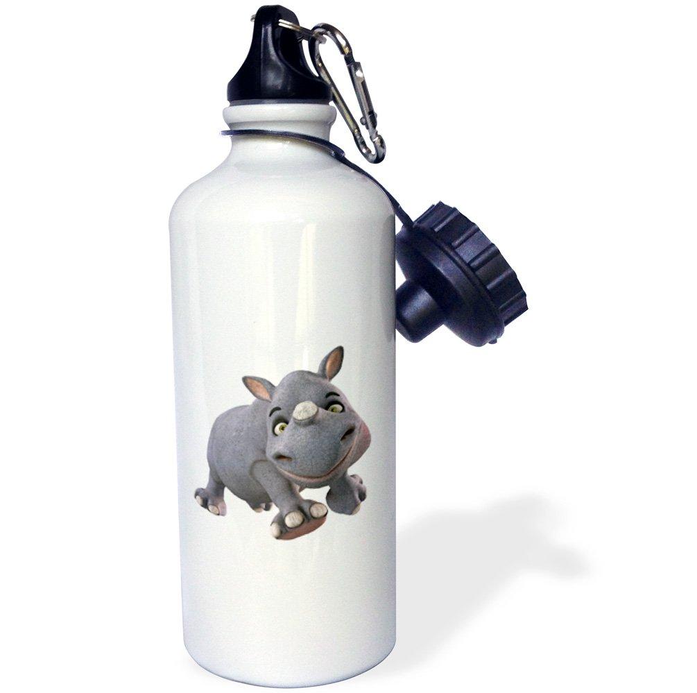 3dRose Baby Cartoon Rhino Running-Sports Water Bottle 21oz 21 oz Multicolor wb/_181002/_1