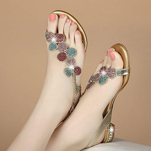 38 De Sandalias Planas oro Cuero Y Femenina Chanclas Diamantes Flores Imitacin Verano Bajas Zapatos Zapatillas Sbl Con Plana Mujer Punta SHBCqnq