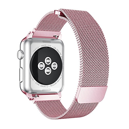 Nicwea Milanese Loop Stainless Steel Band with Adjustable Magnetic Closure Replacement iWatch Strap for Apple Watch Series 3/2 / 1 Sport & Edition 42mm Rose (3mm Cuff)