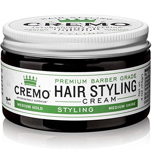 Cremo Barber Grade Hair Styling Cream, Medium Hold, Medium Shine, 4 Ounce