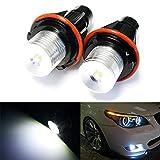 iJDMTOY 7000K Xenon White 5W High Power LED Angel Eyes Bulbs for BMW 5 6 7 Series X3 X5