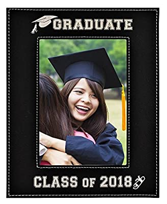 GIFT FOR GRADUATE / GRADUATION ~ Engraved Leatherette Graduation Picture Frame ~ Class of 2018 Picture Frame - Elegant Black Frame Engraves in Silver ~ Beautiful Display for Special Graduate