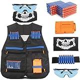 AMOSTING Tactical Vest for Kids, Adjustable Tactical Vest Kit for Nerf N-Strike Elite Series Toy Guns with Reload Clip, Refill Darts, Vision Goggles, Skull Mask, Wrist Band