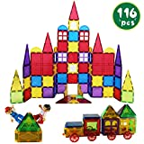 Romboss 116 Pcs Magnetic Tiles Set Includes 2 Cars STEM 3D Magnets Building Blocks Preschool Educational Toys for Children Kids Toddler