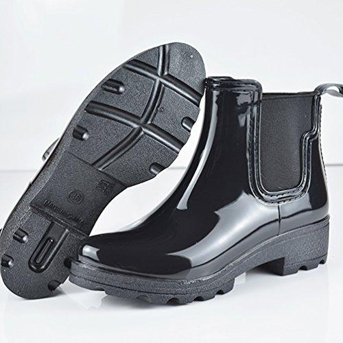 LvRao Mujeres Lluvia Nieve Zapatos Impermeables Boots de Goma Botines Cálido de Jardín Negro
