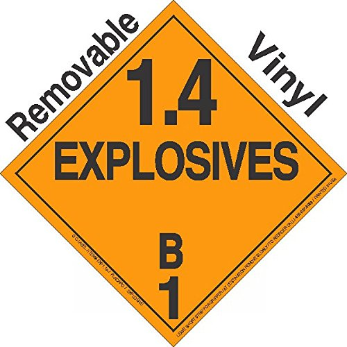 GC Labels-P14Bc-0350, Explosive Class 1.4B NA or UN0350 Removable Vinyl DOT Placard, Package of 50 Placards