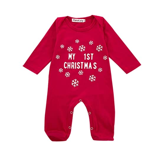 Christmas Jumpsuit Baby.Amazon Com Baby Boy Girl Christmas Jumpsuit Long Sleeve Red