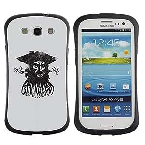"Pulsar iFace Series Tpu silicona Carcasa Funda Case para SAMSUNG Galaxy S3 III / i9300 / i747 , Pirata Capitán de mar Acuarela Negro"""