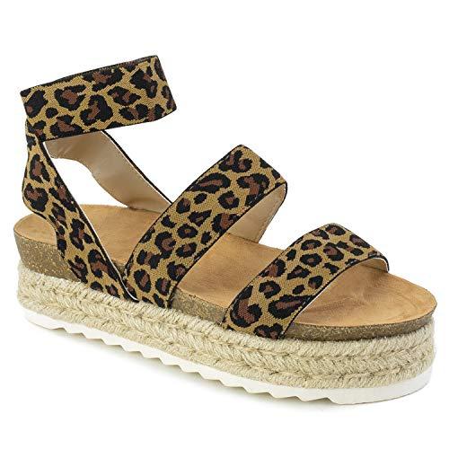 (RF ROOM OF FASHION Women's Slide On Espadrille Platform Comfort Ankle Elastic Strap Footbed Wedge Sandal Leopard Size.6)