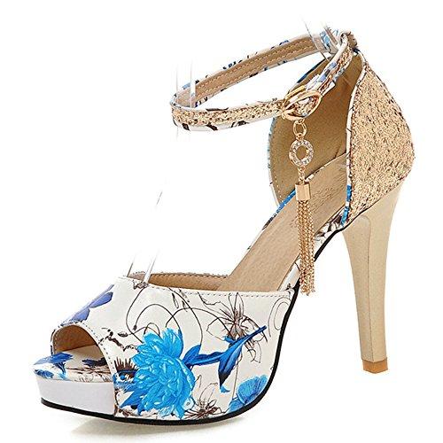 Moda Heel Mujeres Stiletto Heel Peep Toe Plataforma Flor Impreso Tobillo Correa Sandalia Azul