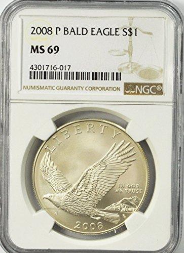 2008 P Bald Eagle Commemorative Silver Dollar Philadelphia $1 MS69 NGC MS