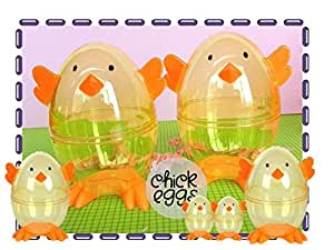 Clear Chick Shaped Easter Eggs 3 Fillable Treat Containers