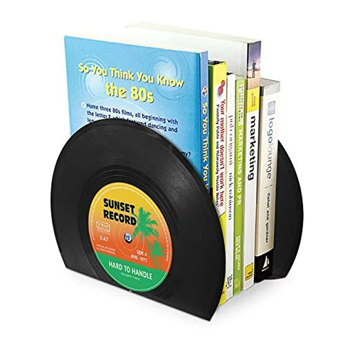 ANTIMAX Vinyl Bookends Vintage Record Bookends Creative Cool CD Shape Heavy Duty Bookends for Office School Home Decor Black (Pack of 2 Bookends / One Pair) by ANTIMAX (Image #4)
