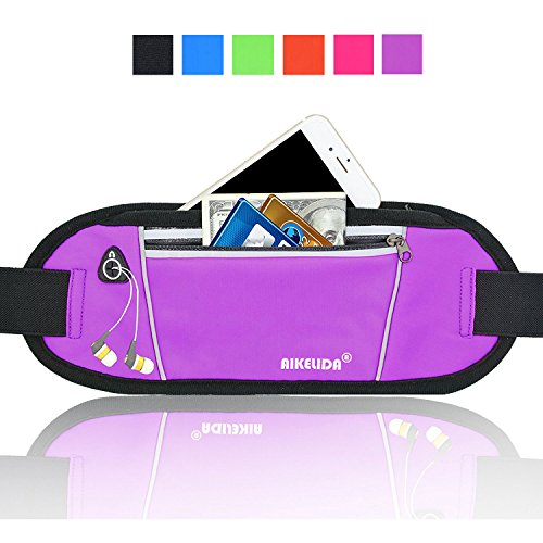 Price comparison product image AIKELIDA Running Belt / Fanny Pack / Fitness Belt / Waist Pack for iPhone, Samsung Edge / Note / Galaxy - Men, Women during Sports Fitness, Running, Cycling, Hiking, Travel, Workout - Purple