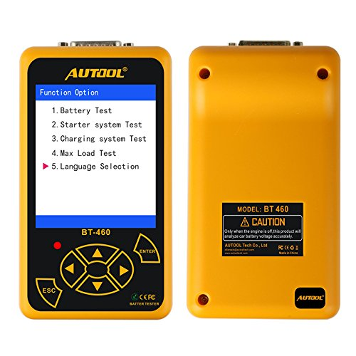 AUTOOL Car Battery Tester on Starter System, Charging System and Battery Load Test with 100-2400 CCA for 12/24V Cars (BT-460) ()