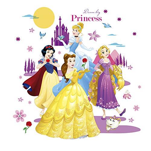 (ufengke Princess Castle Wall Stickers Flowers Moon Wall Decals Art Decor for Girls Kids Bedroom Nursery)
