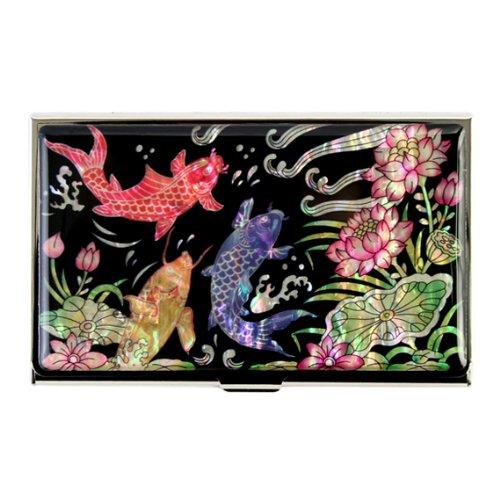 Antique Alive Mother of Pearl Lotus Fish Design Metal Business Credit Card Holder Wallet (B112)