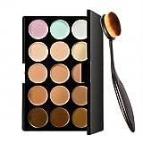 Pro 15 Colors Face Contour Cream Makeup Concealer Palette + Foundation Powder Brush Kit