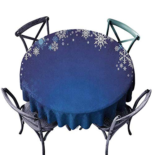 duommhome Christmas Washable Table Cloth Ornamental White Snowflakes in Various Styles Cold Winter Season Easy Care D67 Navy Blue Pale Blue White