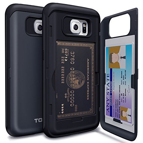 TORU CX PRO Galaxy S6 Wallet Case Dark Blue with Hidden ID Slot Credit Card Holder Hard Cover & Mirror for Samsung Galaxy S6 - Metal Slate