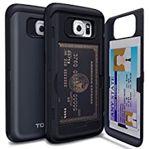 Galaxy S6 Case, TORU [S6 Wallet Case] Protective Slim Fit Dual Layer Hidden Credit Card Holder ID Slot Card Case with Mirror for Samsung Galaxy S6 (2015) - Metal Slate