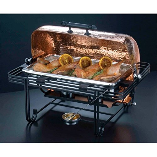 TableTop King MESA72C 8 Qt. Rectangular Roll Top Chafer with Hammered Copper Cover