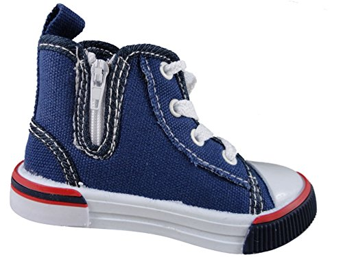 Infant Jungen Kinder Denim Leinwand Hi Top Lace/Zip bis Pumpe Trainer Schuhe 4