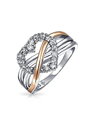 Bling Jewelry Sterling Silver Pave CZ Heart Ring Rose Gold Plated Accent