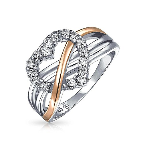 ng Silver Pave CZ Heart Ring with Gold Vermeil Accent, Ring Size 8 (Gold Vermeil Accents)
