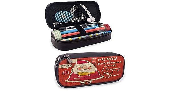 Estuche para lápices de Papá Noel con texto en inglés