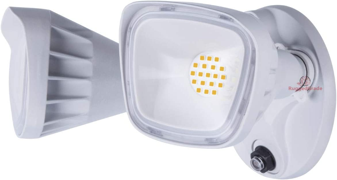 20 Watt LED Wall Flood Light – White Color – Square Heads – 2400 Lumen – with Dusk to Dawn Photocell – 5000K Bright White – 20 Year Life LED – Floodlight Wall Light – ETL DLC