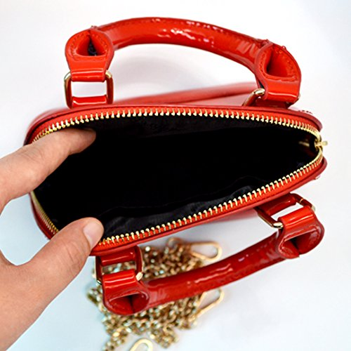 Chain Red La Shiny Bag Fashion Handbags Patent Haute Shoulder Women Leather 1n7Pv1