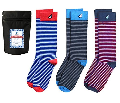 Mens Dress Socks Striped Fun Colorful Gift 3-Pack Awesome Happy, Made in USA - Cheap Fancy Dress Ideas For Men