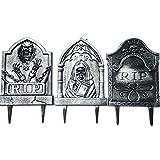 Halloween Tombstone Gravestone Grim Reaper Yard Stake RIP 3-Pack