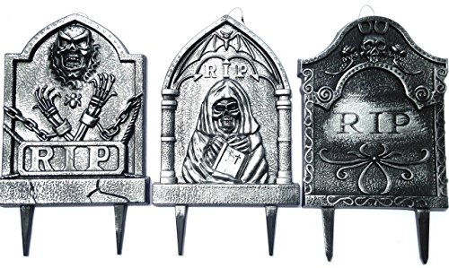 Halloween Tombstone Gravestone Grim Reaper Yard Stake RIP 3-Pack -