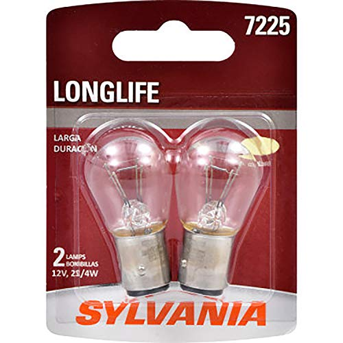 SYLVANIA - 7225 Long Life Miniature - Bulb, Ideal for Brake, Side Marker, and Tail Applications. (Contains 2 Bulbs)
