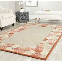 Safavieh MSR3629C Martha Stewart Collection Wool and Viscose Area Rug, 5-Feet by 8-Feet, Poppy Border Cayenne Red