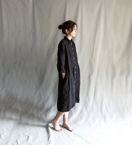 Black Linen dress linen shirt dress linen women's clothing black linen shirt for women linen long sleeve dress loose linen dress buttoned up by Kinzzza